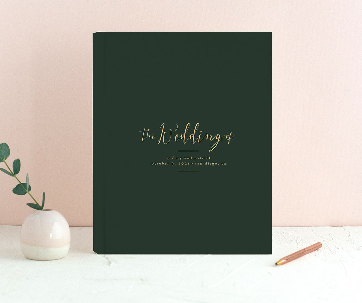 Marble and Gold wedding guest books in green