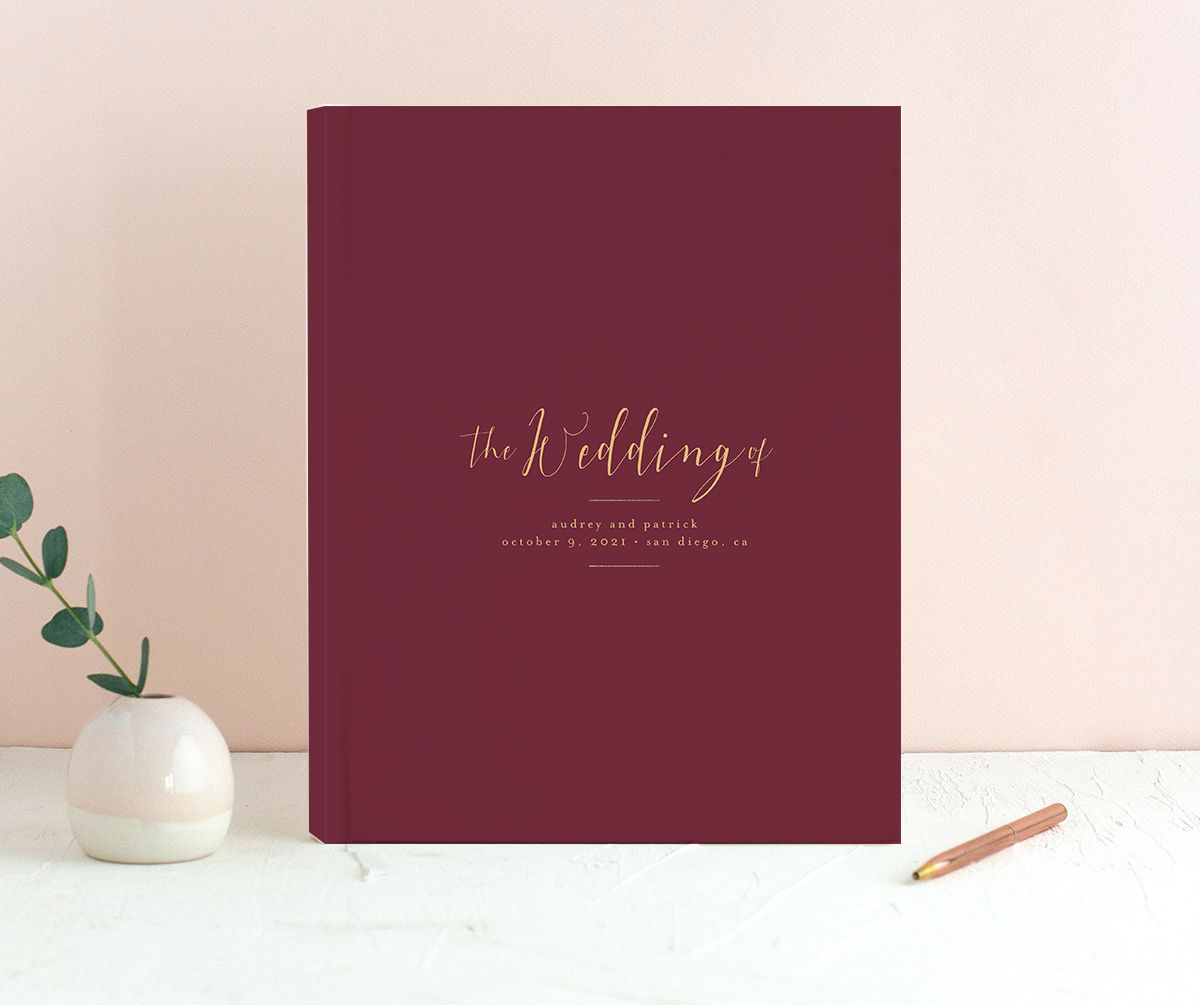 Marble and Gold wedding guest books in red