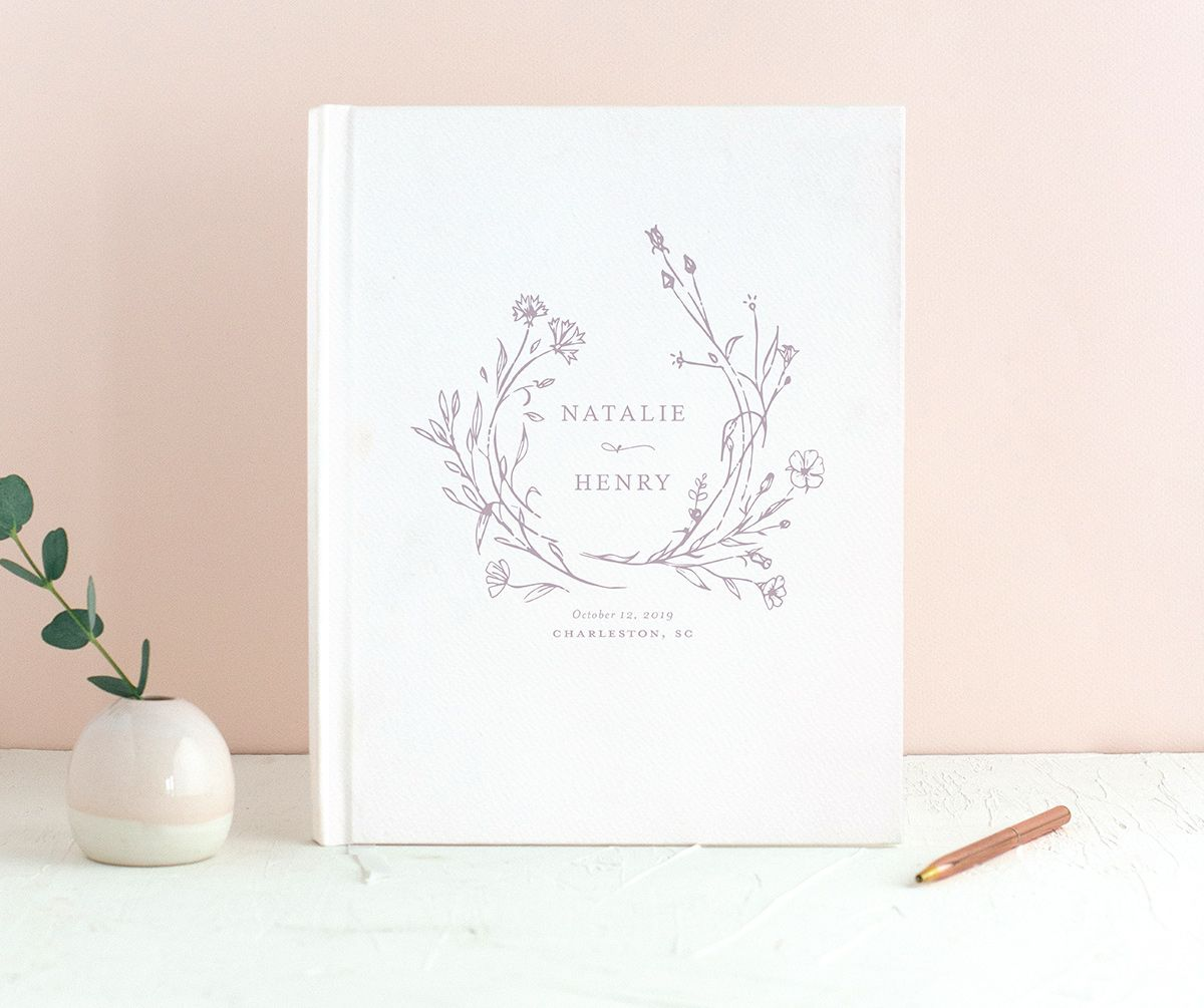 Natural Monogram wedding guest book in purple closeup
