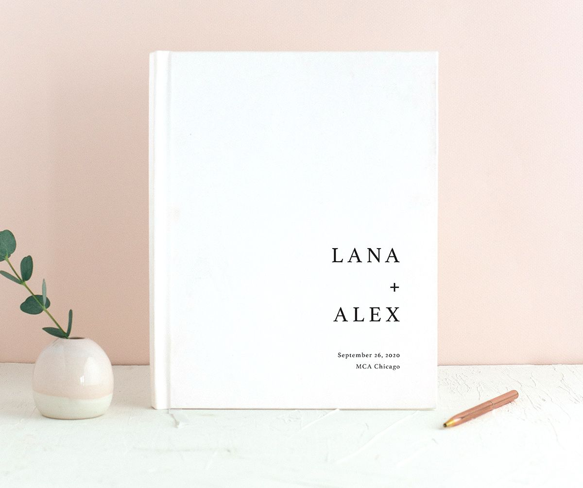 Natural Palette wedding guest book in white