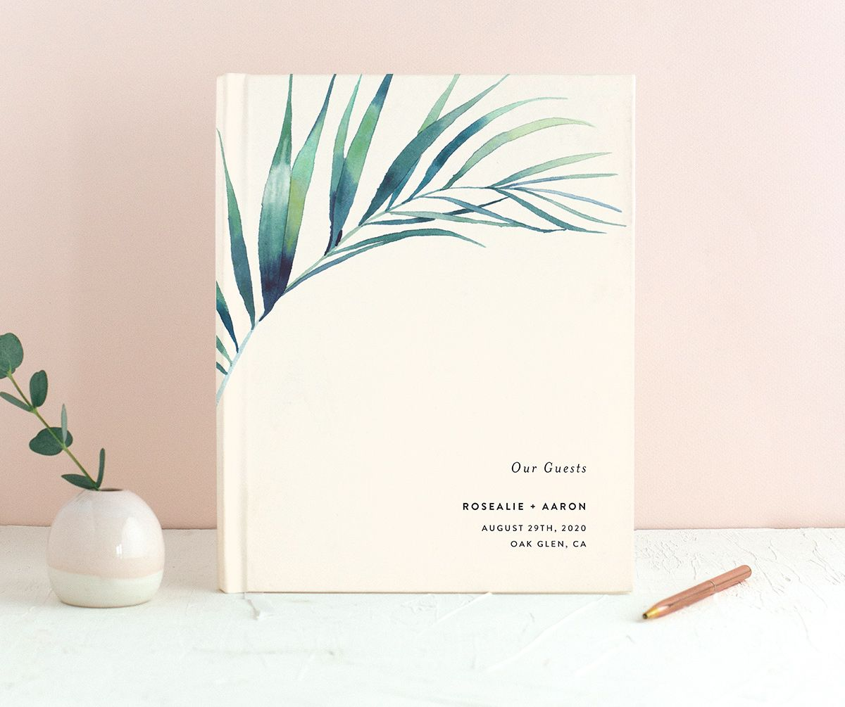 Palm and Protea guest book