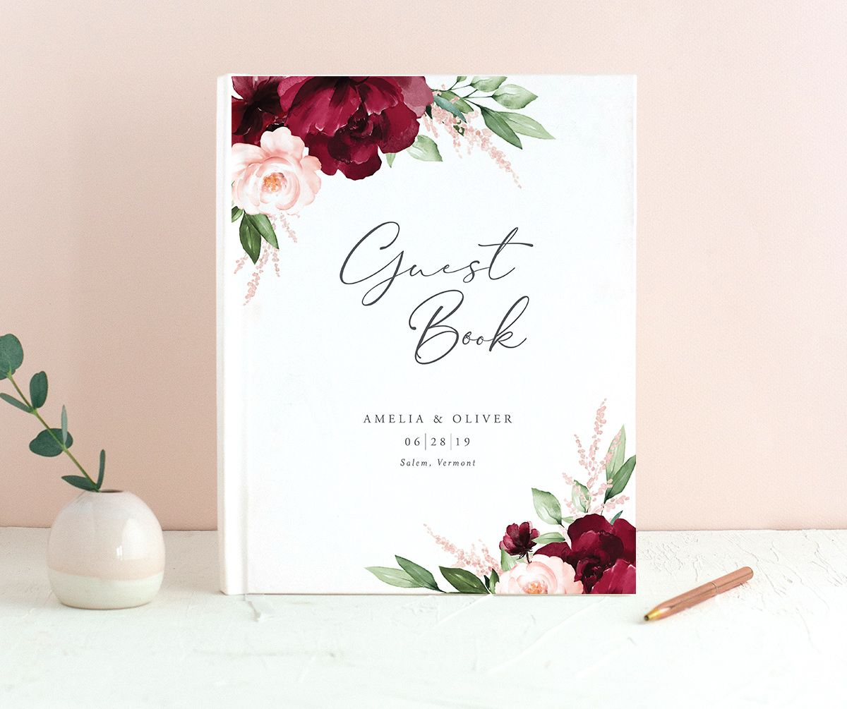 Beloved floral custom wedding guest book in red
