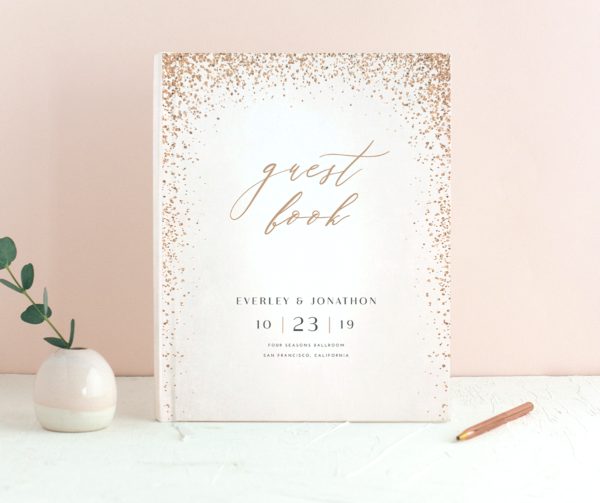 Sparkling Romance guest book white