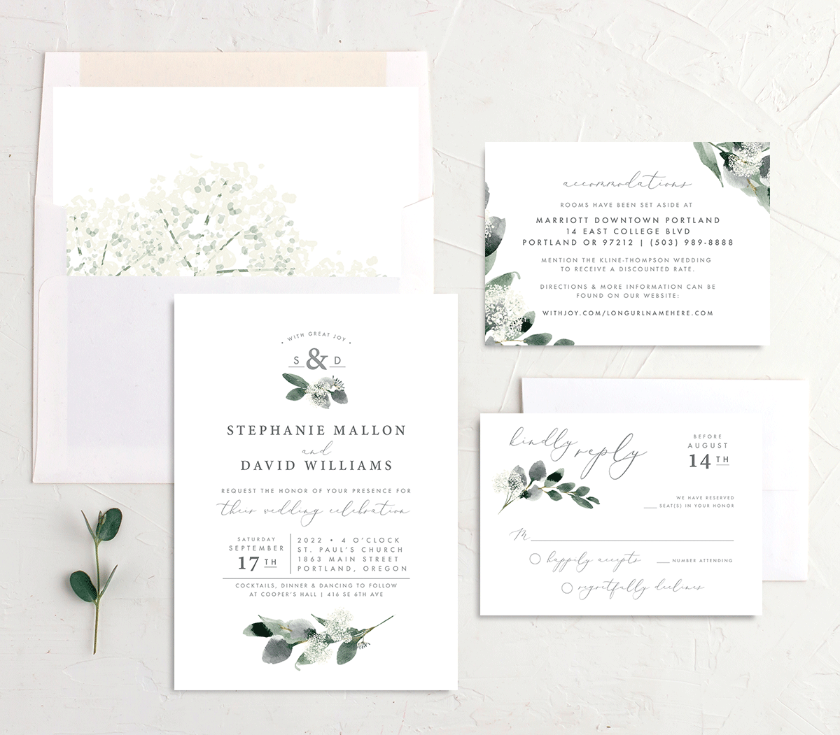 Elegant Greenery invite suite merch