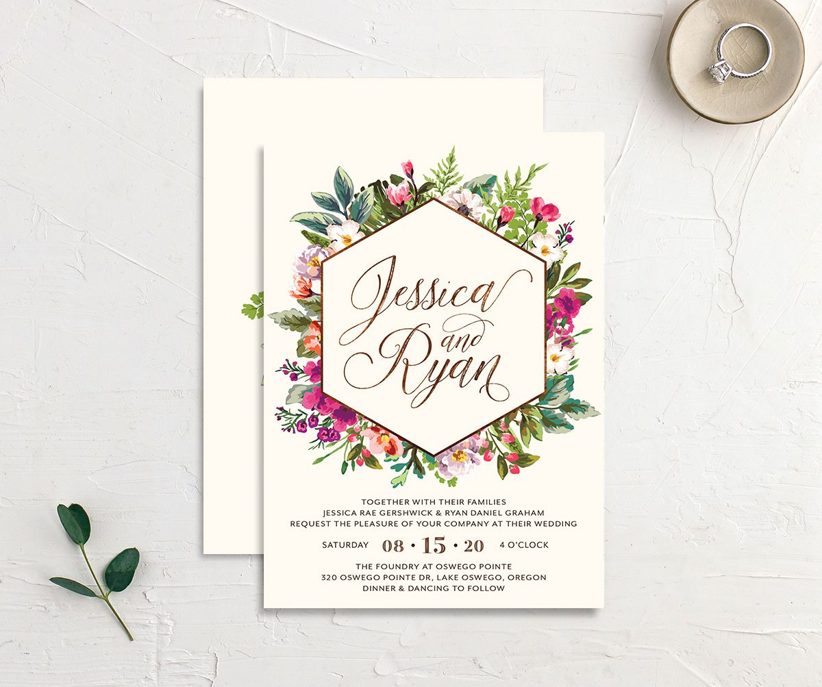 Bronze Floral Frame Wedding Invites