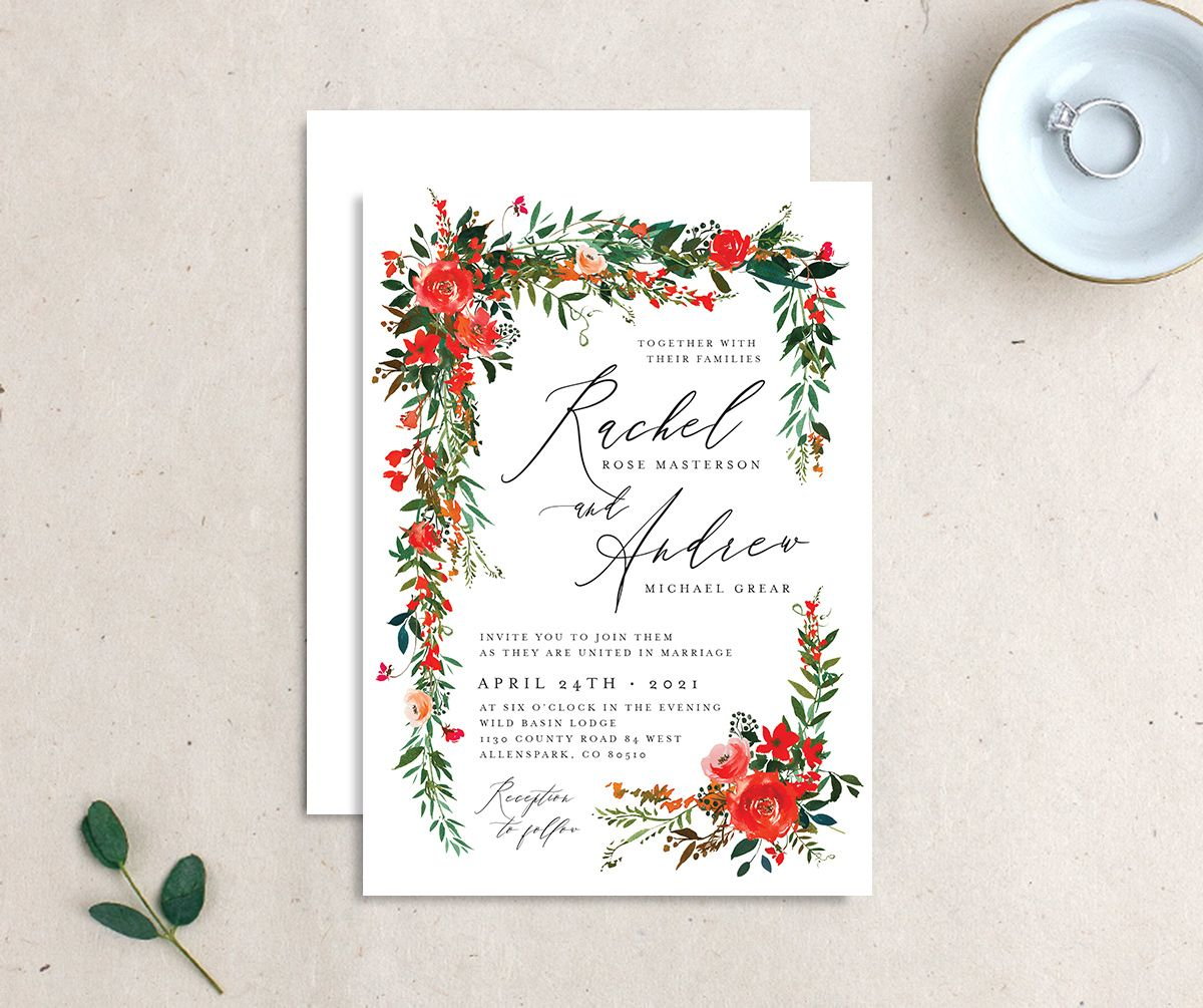 Cascading Altar wedding invites front & back in bright red