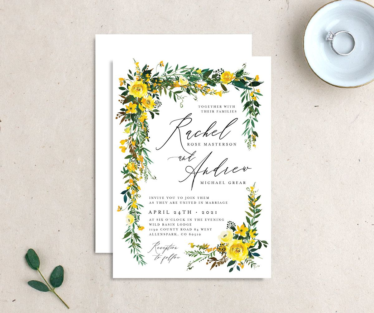 Cascading Altar wedding invites front & back in yellow
