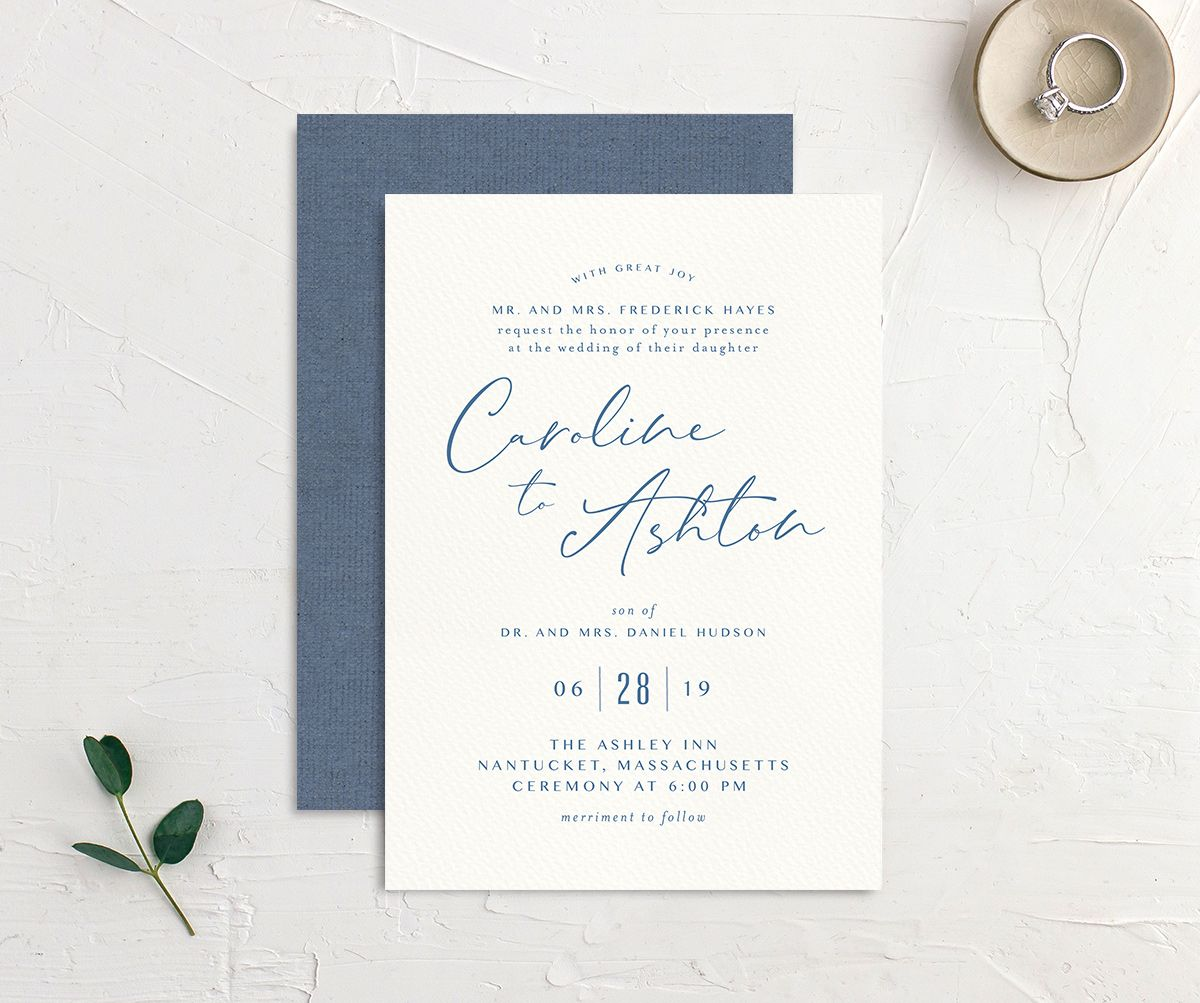 Coastal Love wedding invites front & back in blue