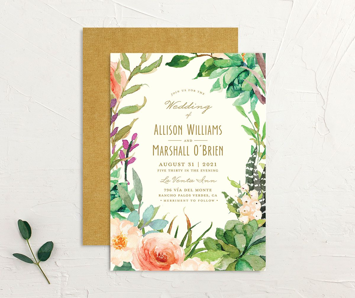 Elegant Oasis Wedding Invitations front & back