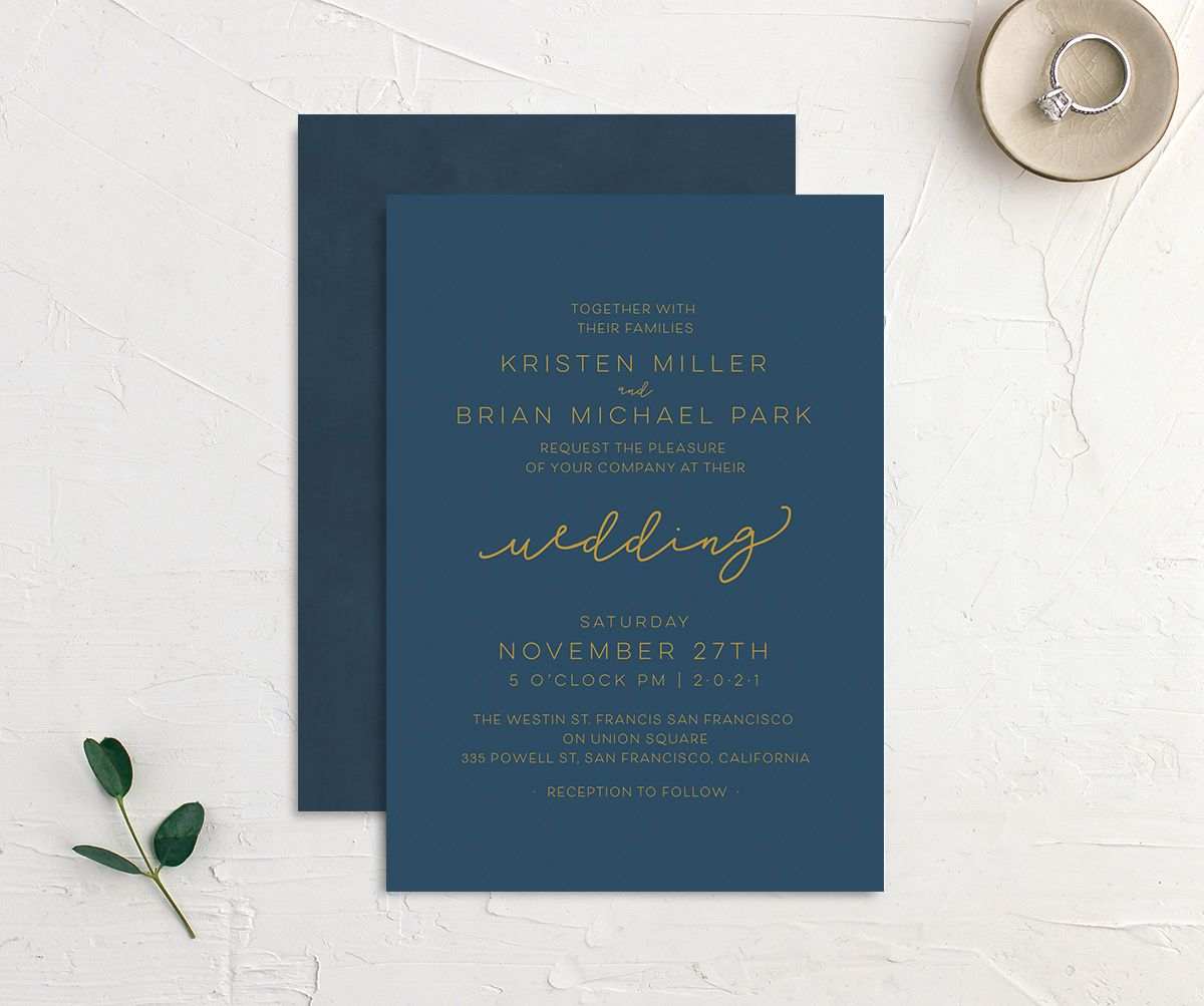 Gold Calligraphy Wedding Invitations front & back in blue