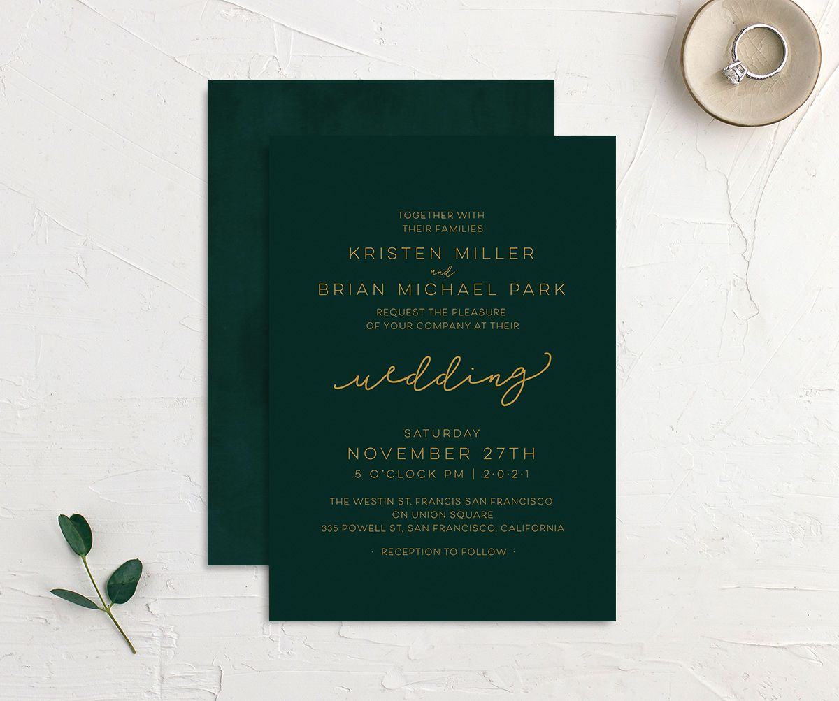 Gold Calligraphy Wedding Invitations front & back in green