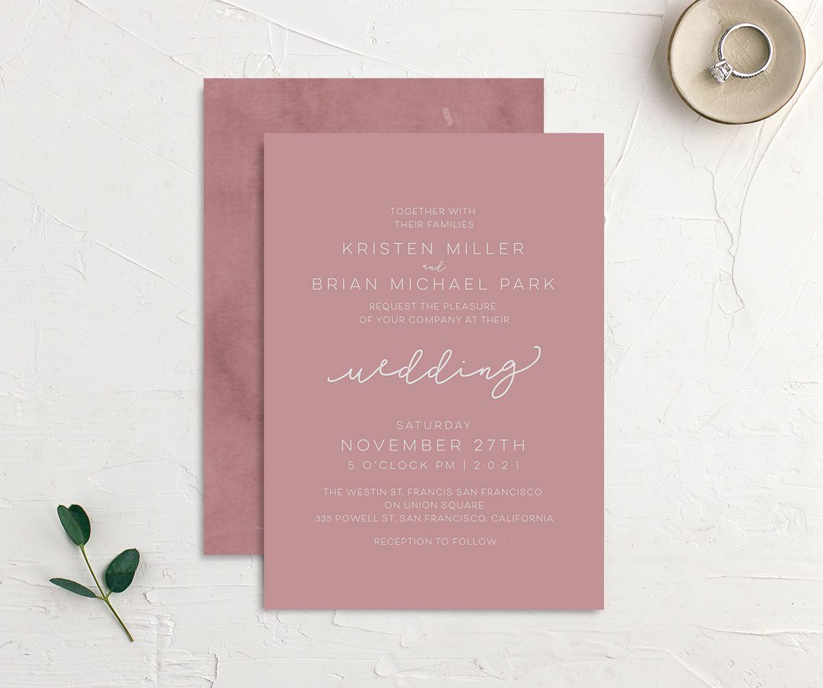 Gold Calligraphy Wedding Invitations front & back in pink