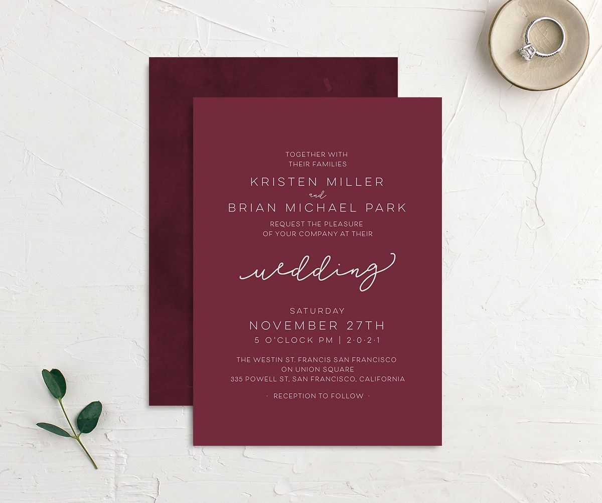 Gold Calligraphy Wedding Invitations front & back in red
