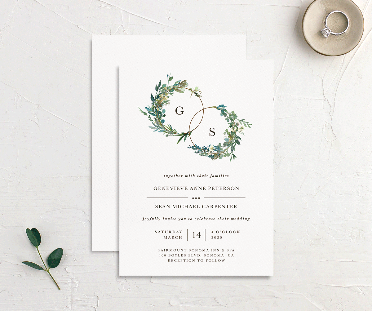 Leafy Hoops Wedding invite card merch