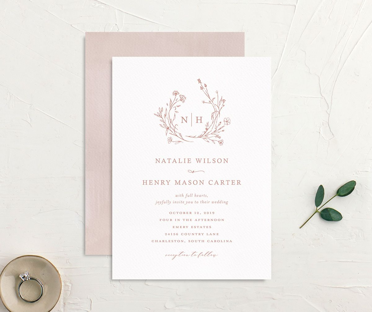 Natural Monogram invite front & back in pink