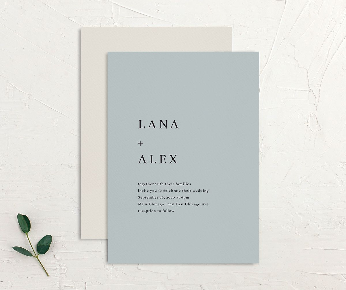 Natural Palette wedding invites in blue front & back