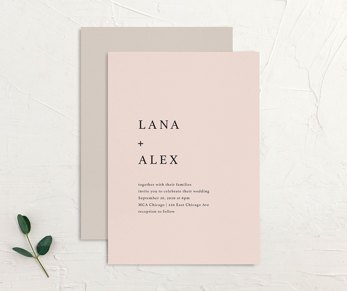 Natural Palette wedding invites in pink front & back