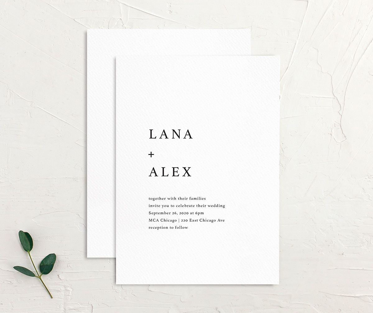 Natural Palette wedding invites in white front & back