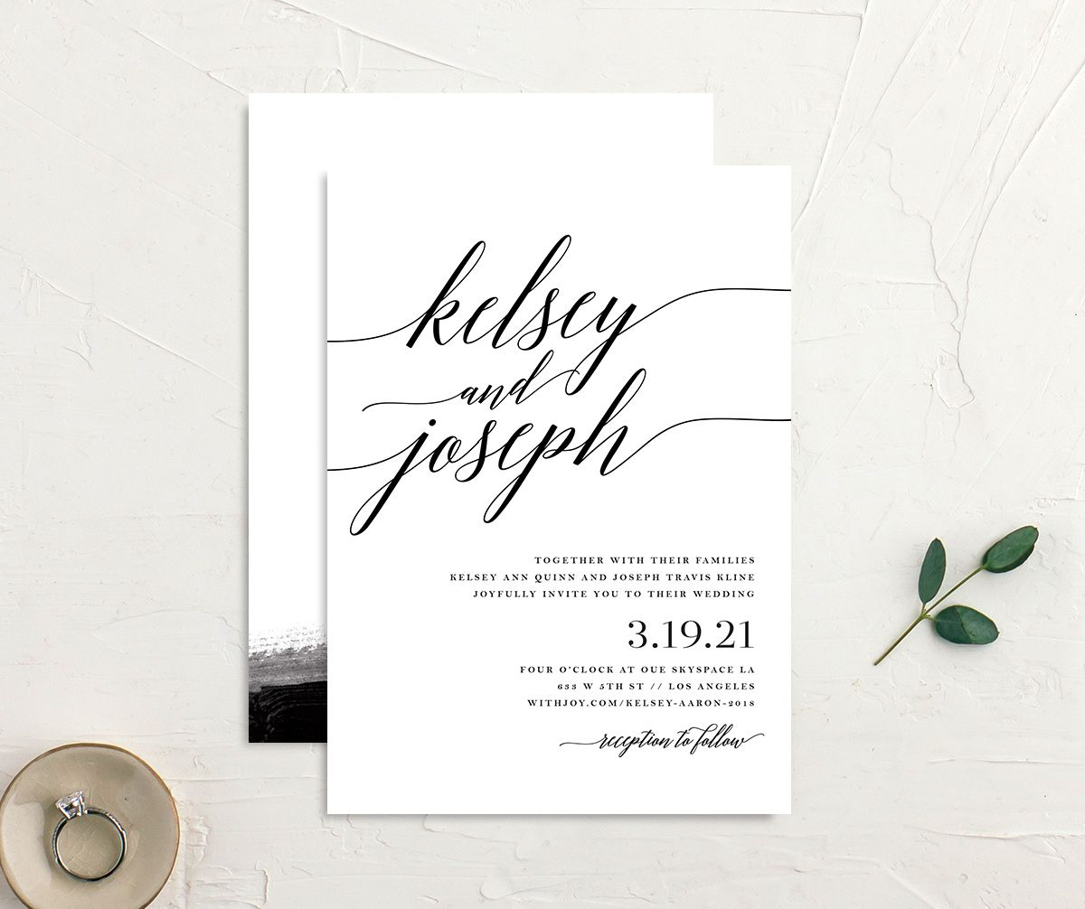 Painted Minimal wedding invitations front & back