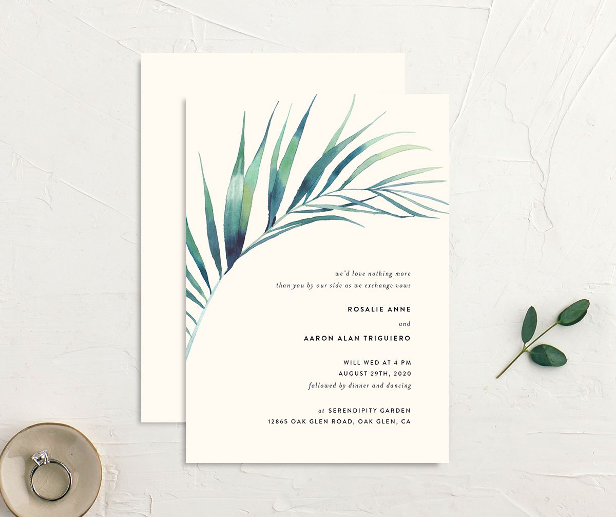 Palm and Protea Wedding Invitations front & back