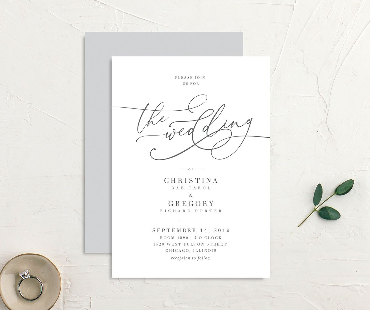 Romantic Calligraphy wedding invites grey front & back