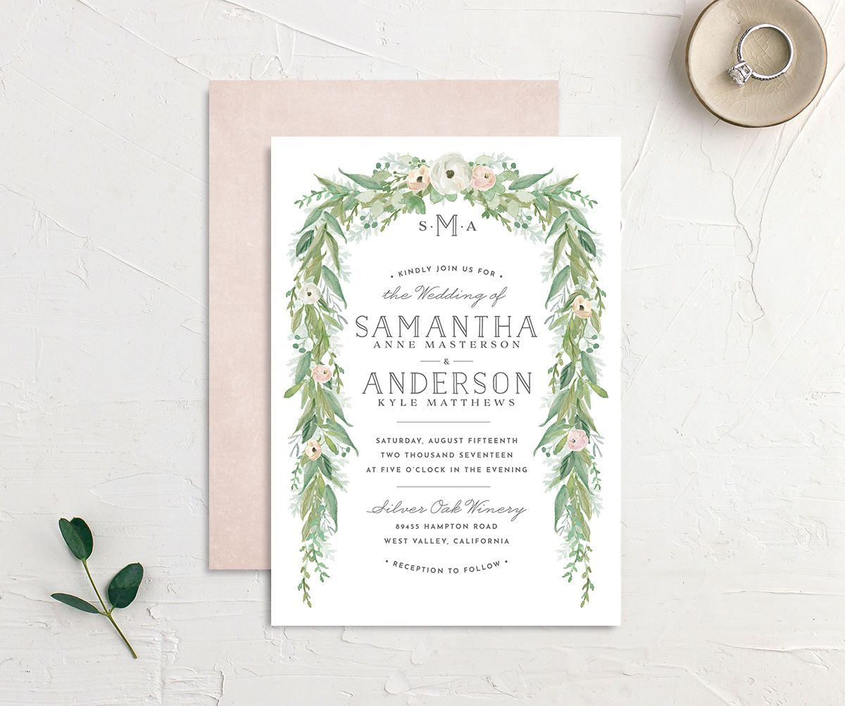 Romantic Garland Wedding Invitations front & back