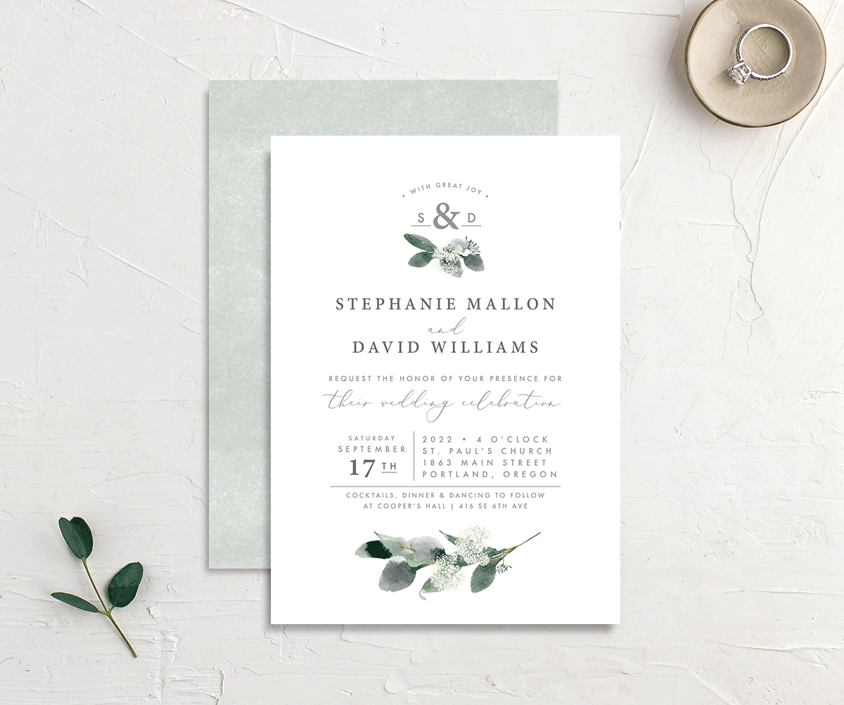 elegant greenery wedding announcement cards