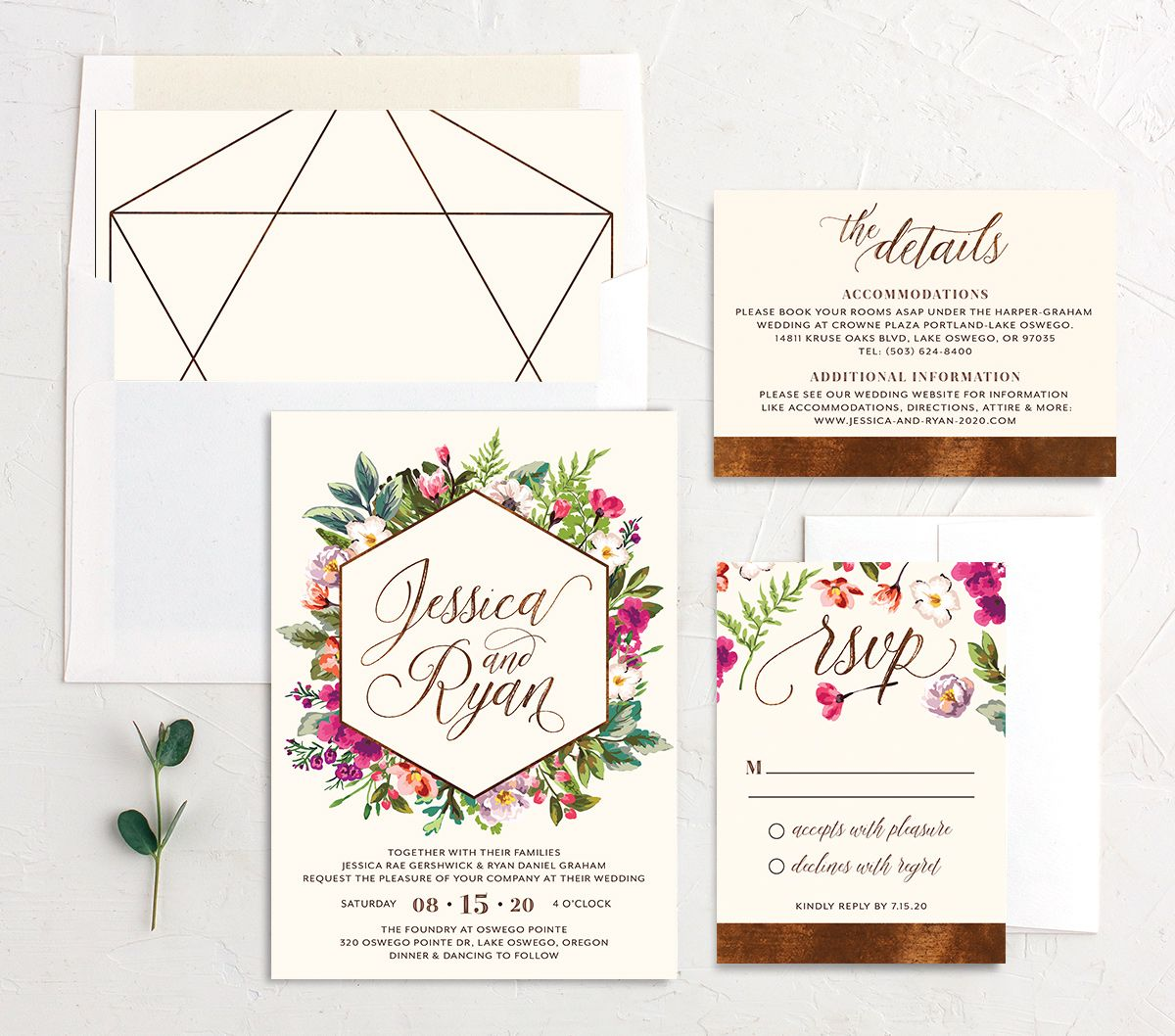 Bronze Floral Frame Wedding Invite Suite