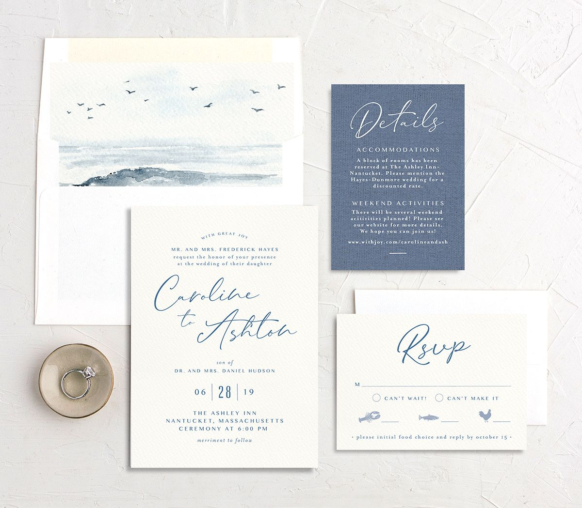 Coastal Love wedding invitation suite in blue