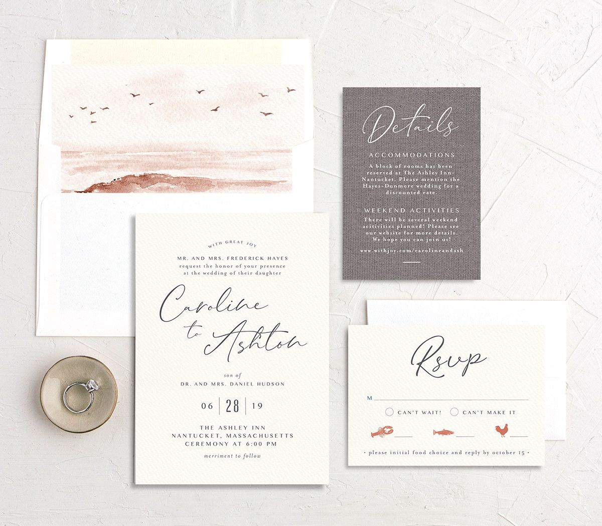 Coastal Love wedding invitation suite in grey