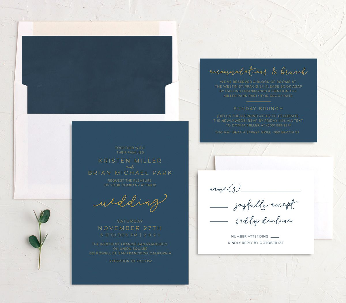Gold Calligraphy Wedding Invite Suite in blue