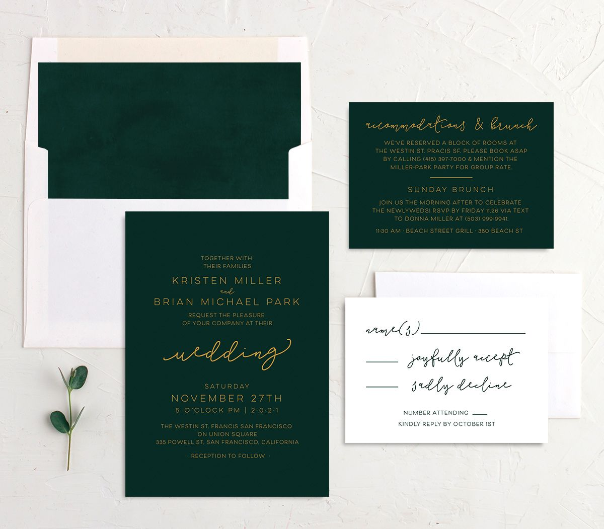 Gold Calligraphy Wedding Invite Suite in green