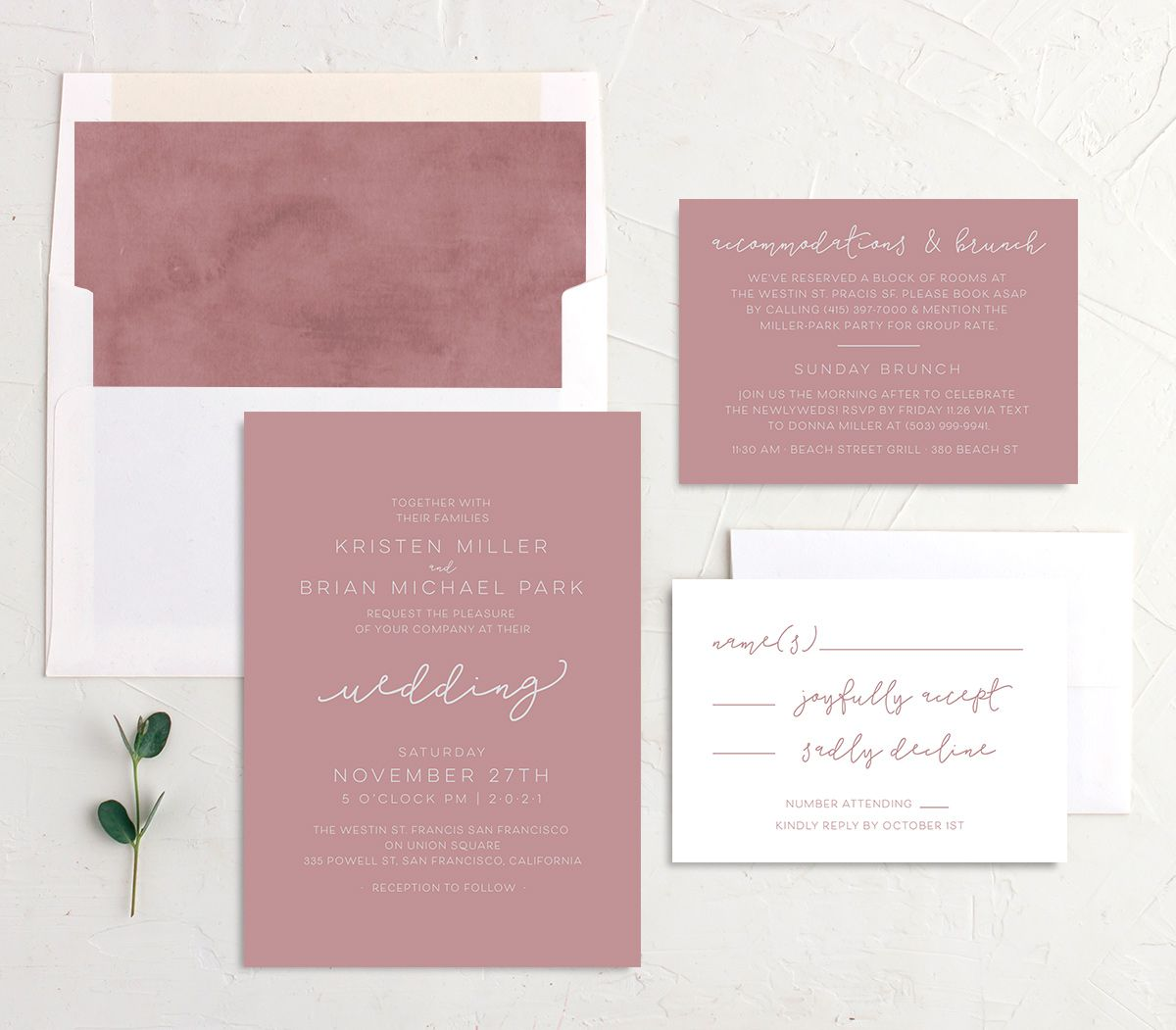 Gold Calligraphy Wedding Invite Suite in pink