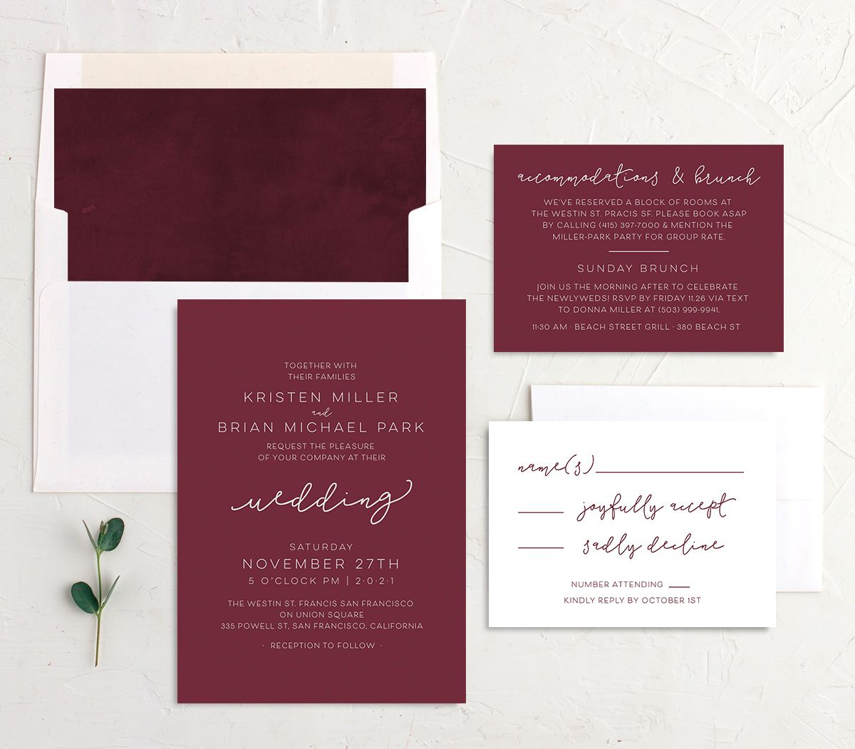 Gold Calligraphy Wedding Invite Suite in red