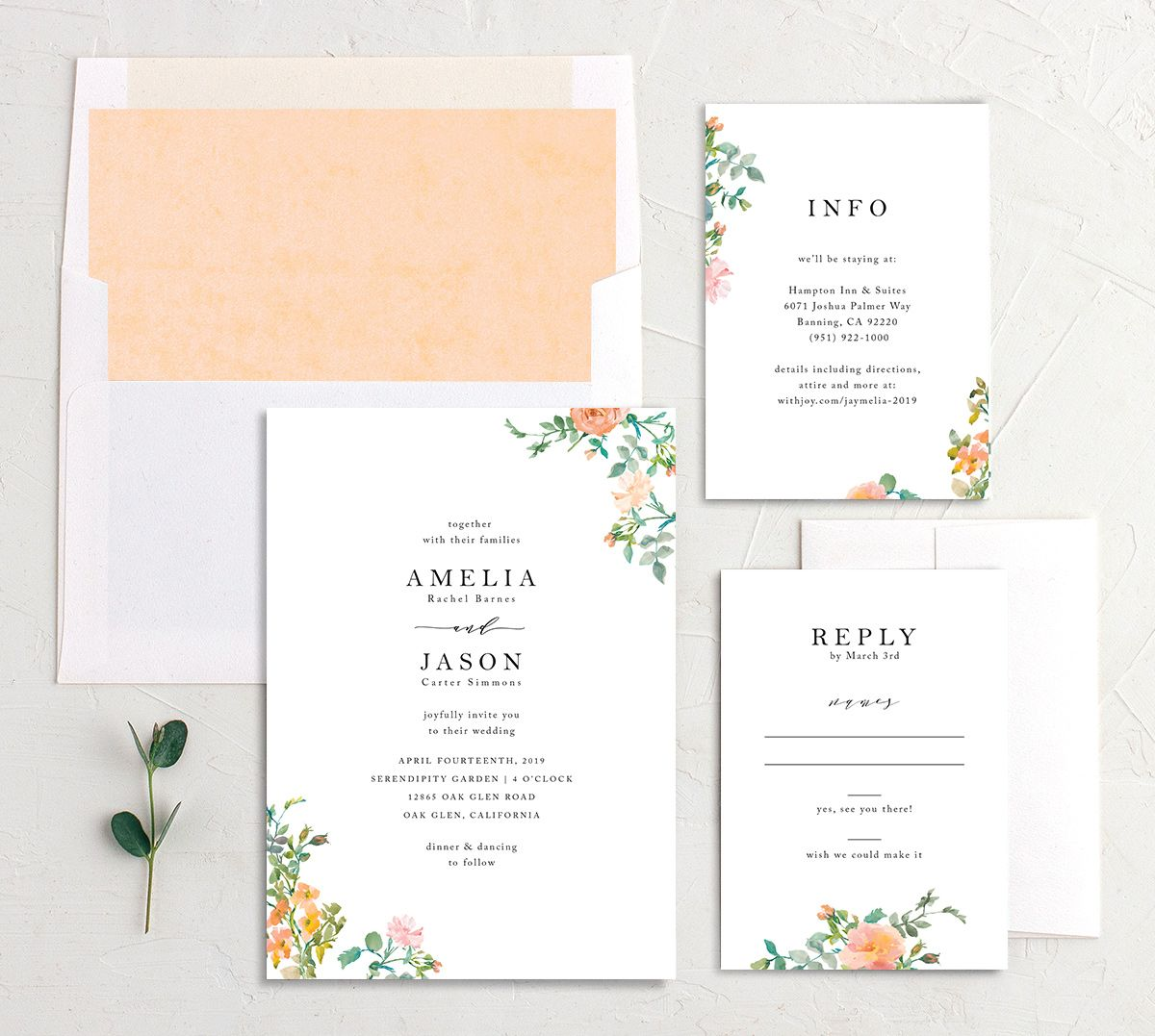 Minimal Floral wedding invitation suite