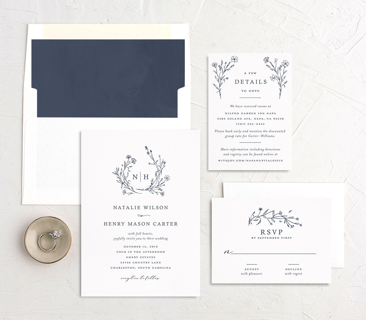 Natural Monogram wedding invite suite in blue