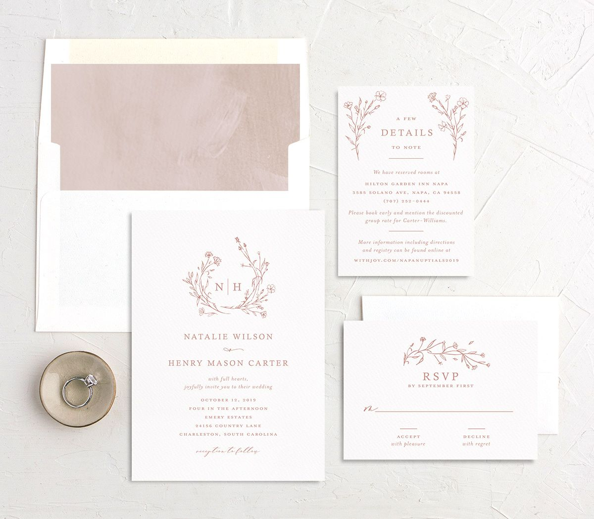 Natural Monogram wedding invite suite in pink