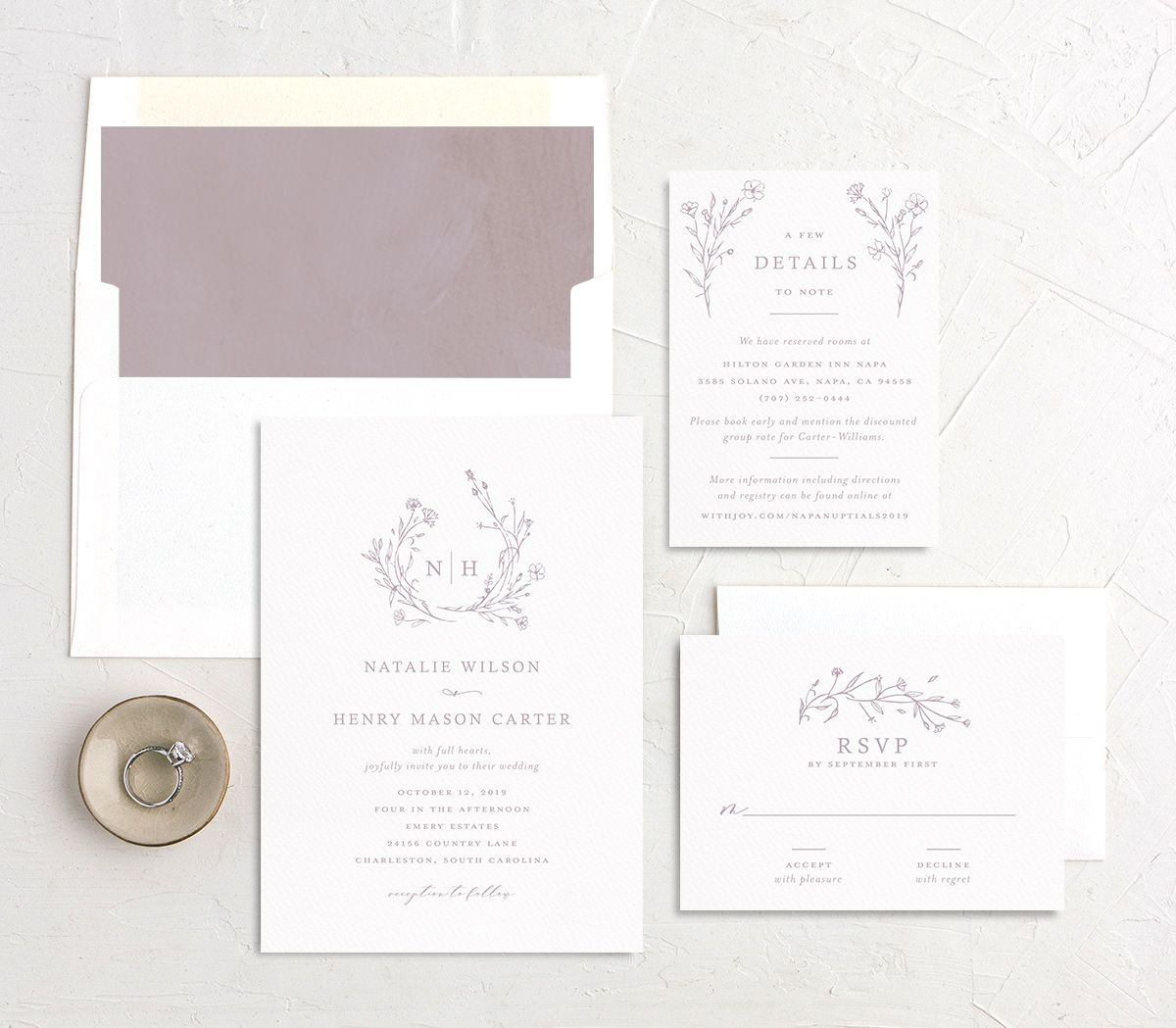 Natural Monogram wedding invite suite in purple