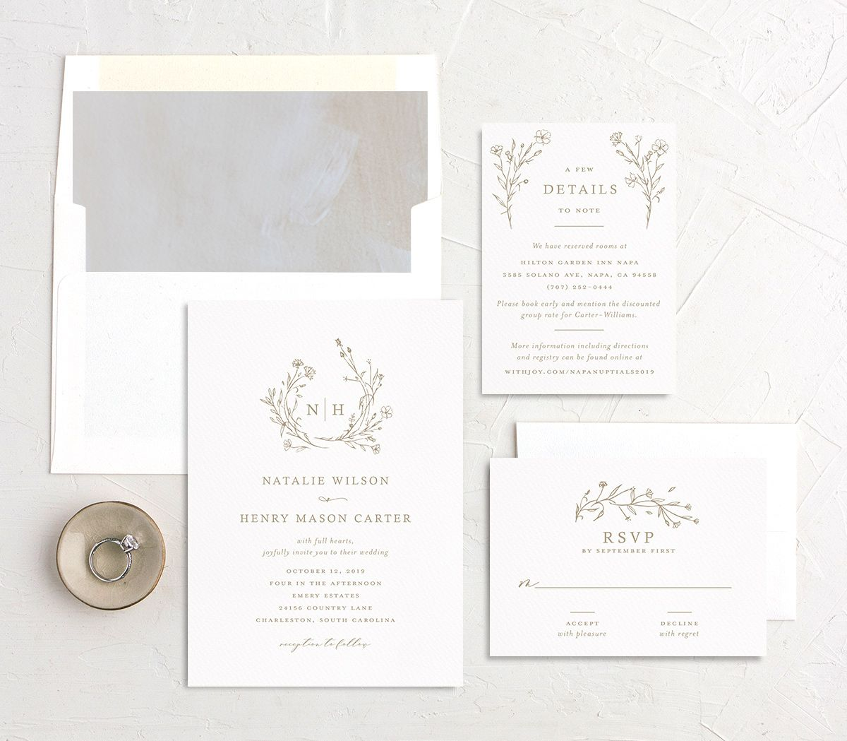 Natural Monogram wedding invite suite in tan