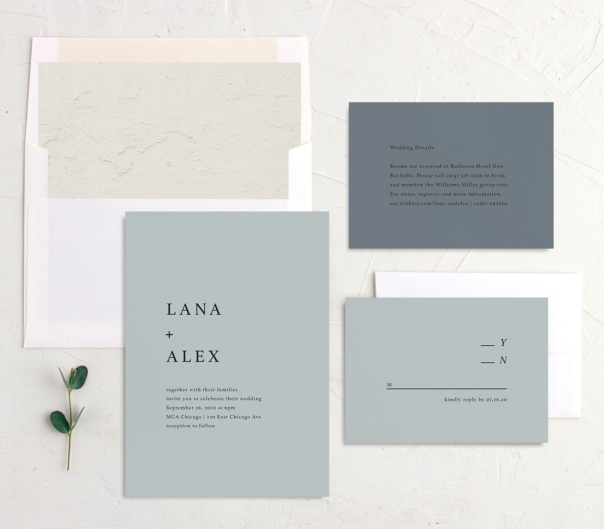 Natural Palette wedding invite suite in blue