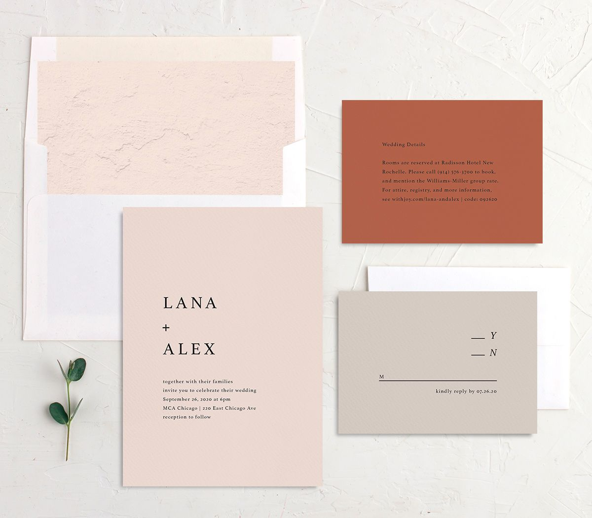 Natural Palette wedding invite suite in pink