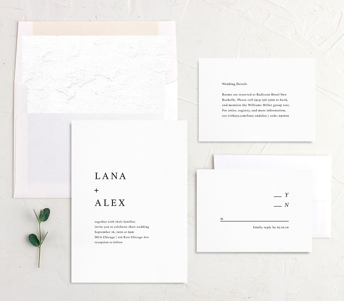 Natural Palette wedding invite suite in white