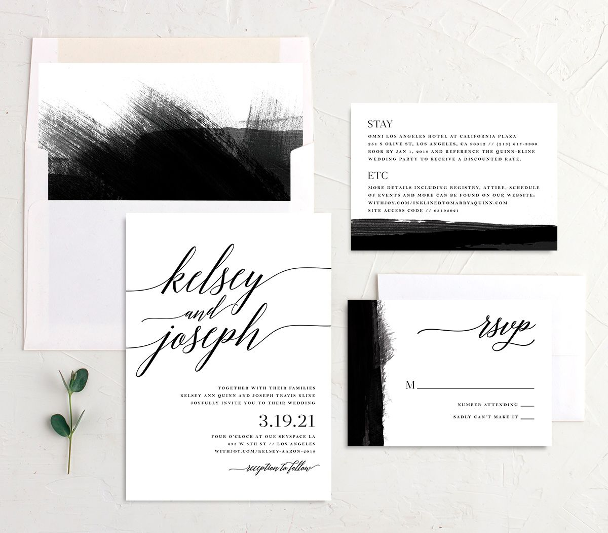 Painted Minimal wedding invite suite