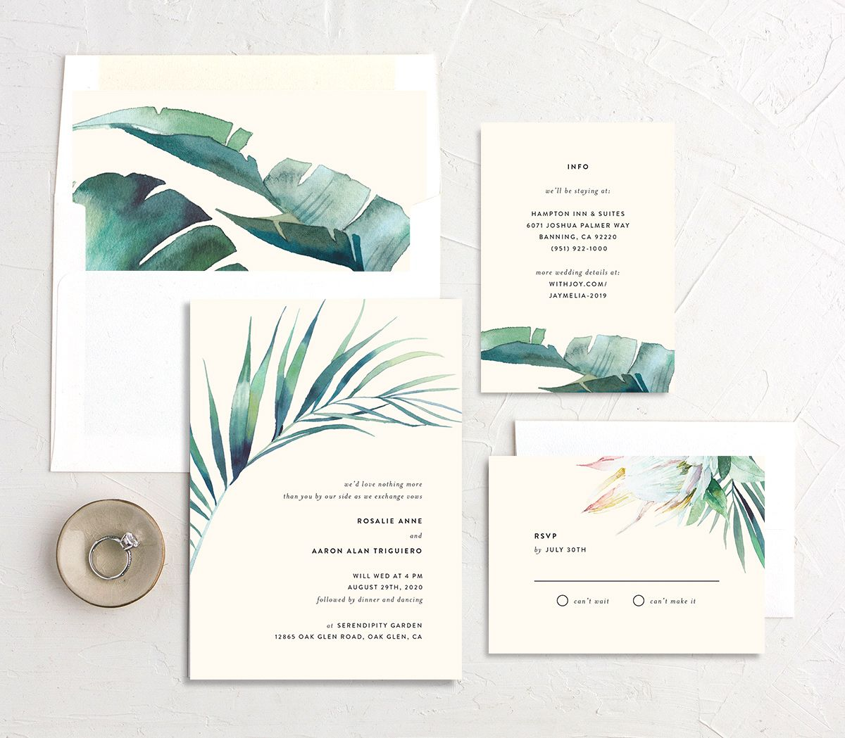 Palm and Protea invite suite