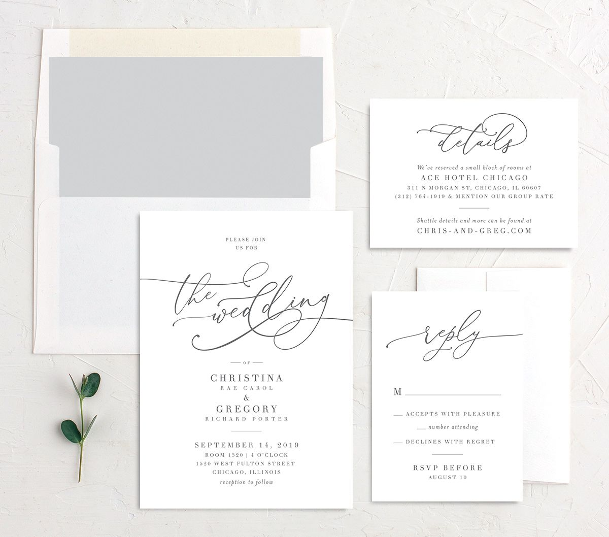 Romantic Calligraphy wedding invite suite in grey