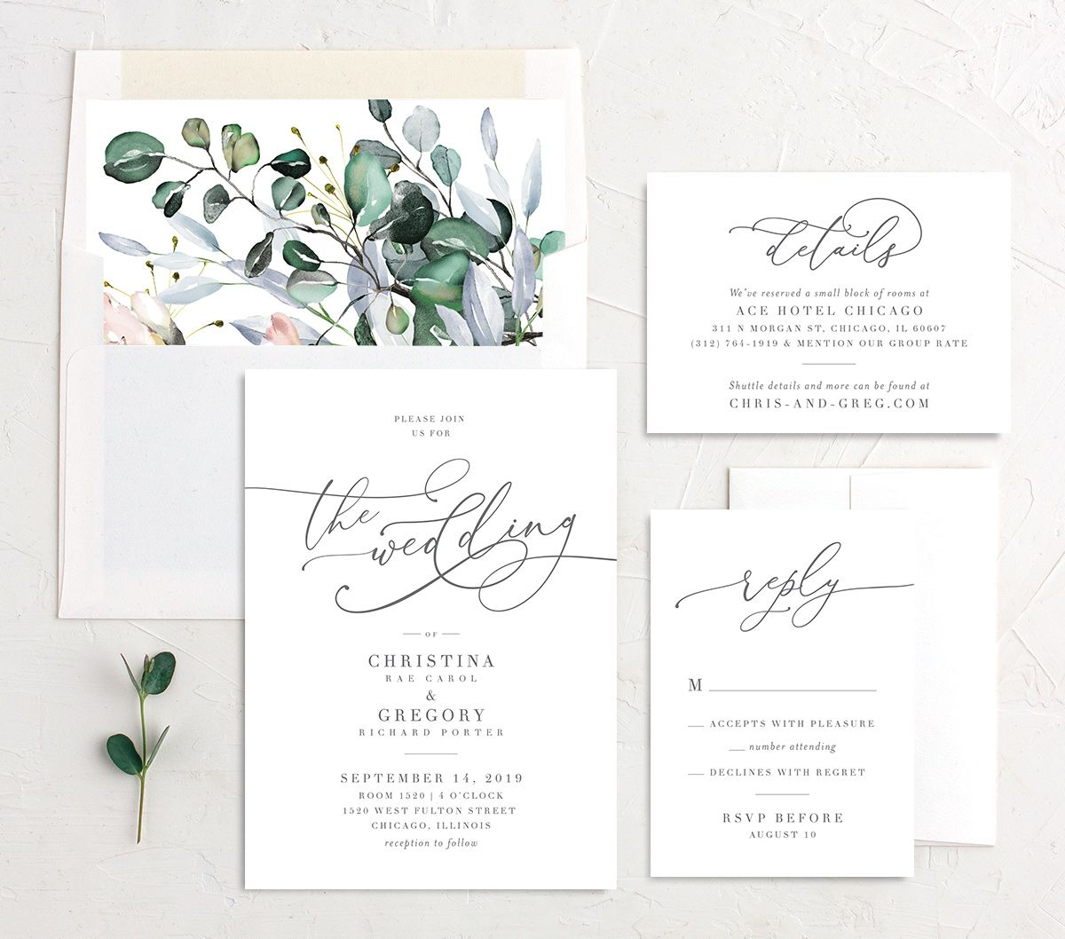 Romantic Calligraphy wedding invite suite in multi