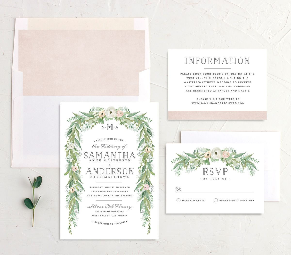 Romantic Garland Wedding Invite suite