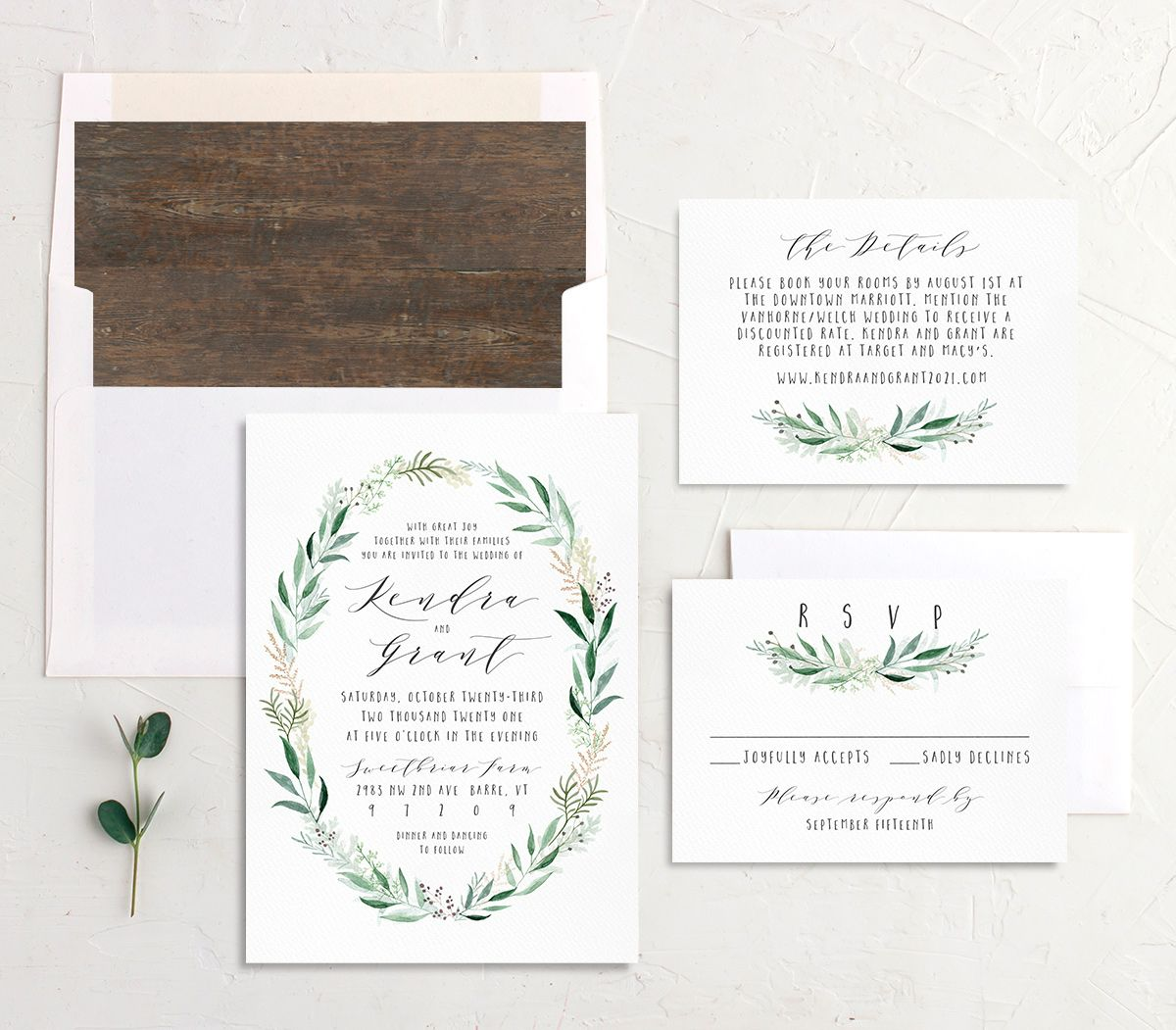 Rustic Wreath Wedding Invite Suite