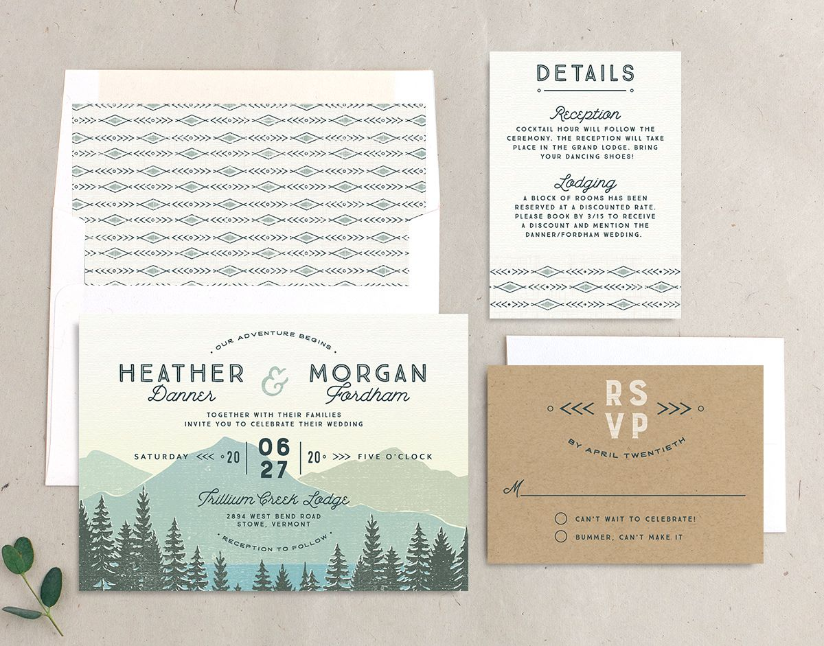 Vintage Mountain wedding invite suite