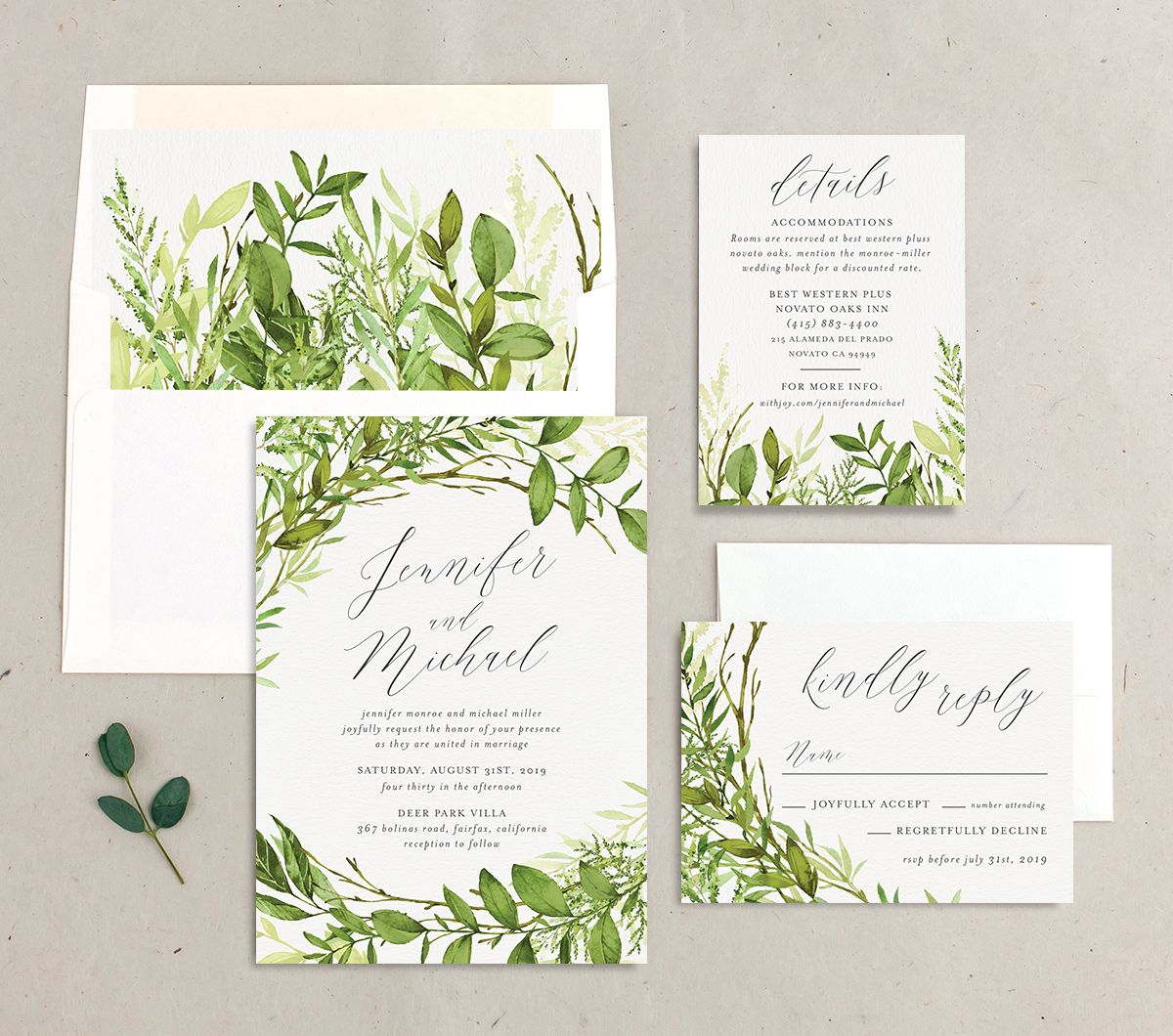 Watercolor Greenery wedding invite suite
